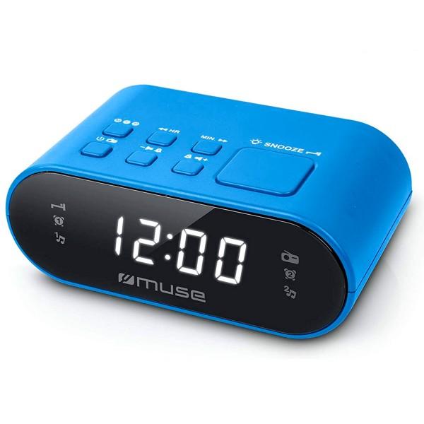 Muse m-10 azul radio despertador fm doble alarma pantalla lcd 0.6''