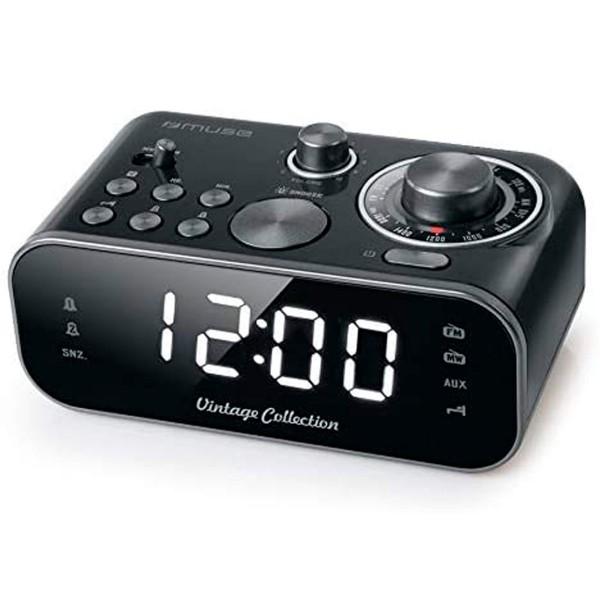 Muse m-18 crb negro despertador doble alarma con radio am fm o zumbador